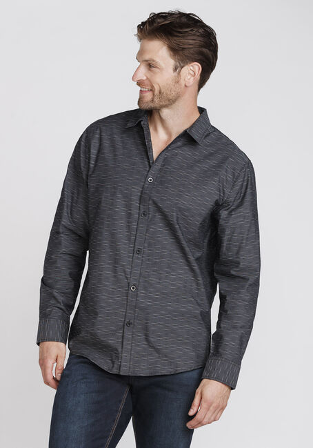 Men's Mini-Stripe Shirt, CHARCOAL, hi-res