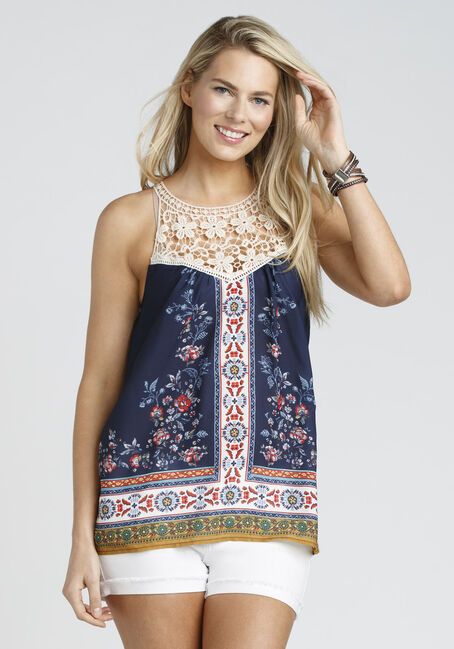 Ladies' Floral Crochet Trim Tank, NAVY, hi-res