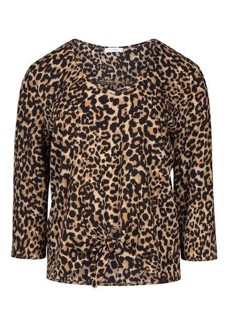 Women's Leopard Print Tie Front Blouse