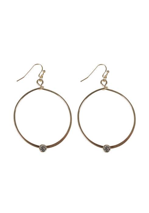 Ladies' Rhinestone Hoop Earring, GOLD, hi-res