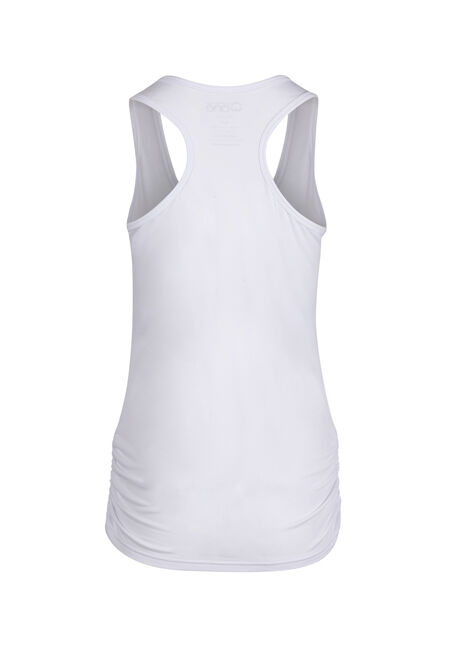 Ladies' Super Soft Ruched Tank, WHITE, hi-res