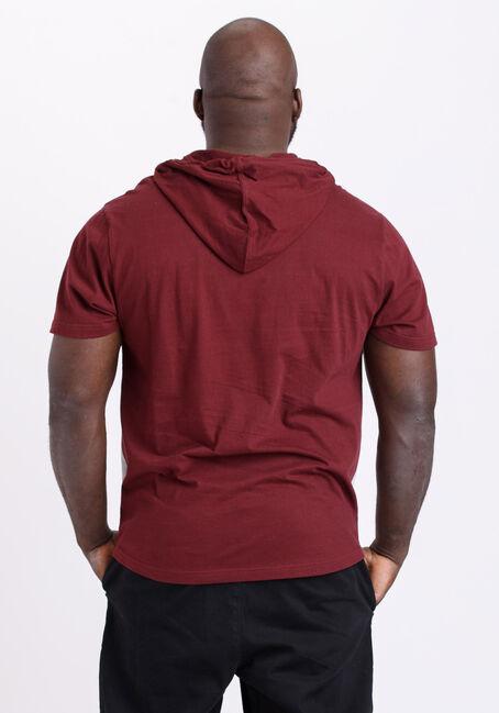 Men's Everyday Colour Block Hooded Tee, TRUE WINE, hi-res