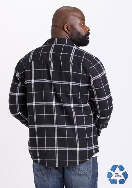 Men's Plaid Flannel Shirt, BLK/WHT, hi-res