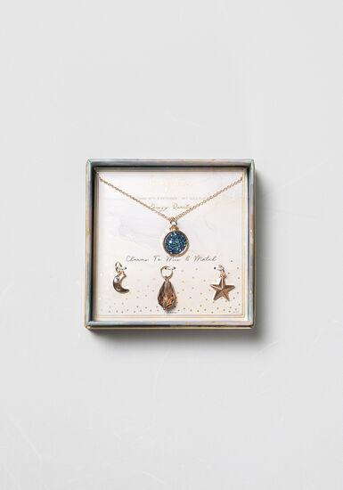 Women's Multi Charm Necklace, BLUE, hi-res