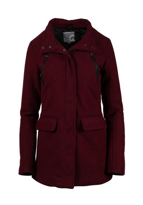 Ladies' Plus Size Wool Coat, BURGUNDY, hi-res