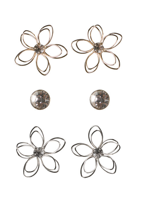 Ladies' Daisy Earring Set, MIXED METALS, hi-res