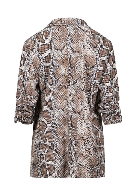 Women's Snake Print Ruched Sleeve Blazer, BLACK, hi-res