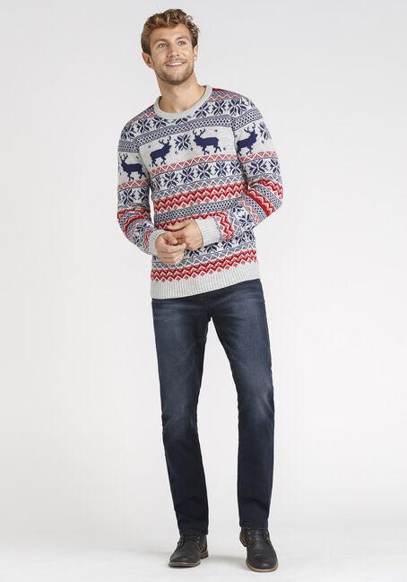 Men's Nordic Sweater, HEATHER GREY, hi-res