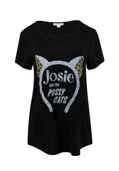 Women's Josie Cross Neck Tee, BLACK, hi-res