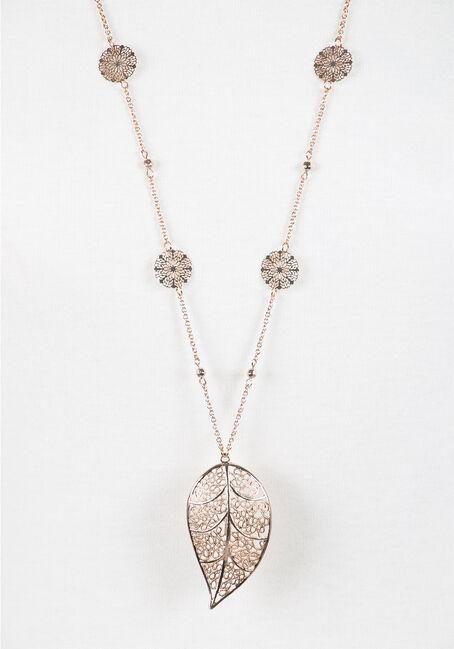 Ladies' Leaf Necklace, GOLD, hi-res