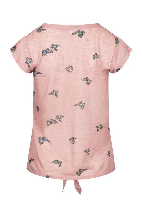 Women's Butterfly Tie-Front Tee, DAHLIA, hi-res