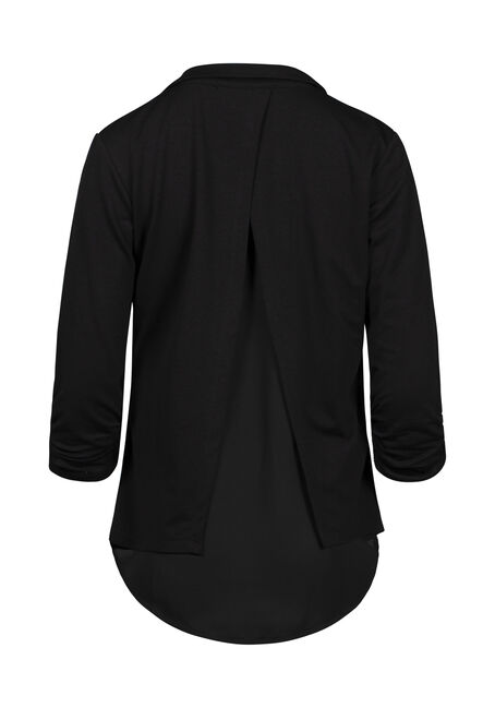 Women's Chiffon Back Blazer, BLACK, hi-res