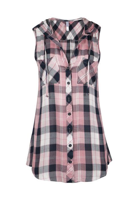 Ladies' Hooded Plaid Shirt, ECLIPSE, hi-res