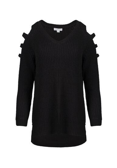 Women's Ladder Sleeve Sweater, BLACK, hi-res