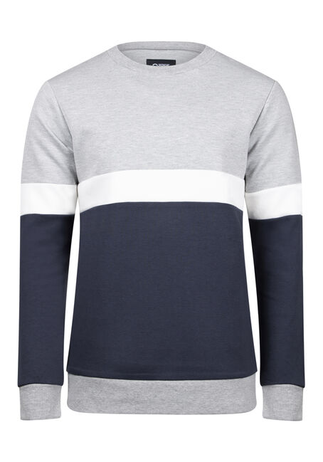 Men's Colour Block Crew Neck Fleece