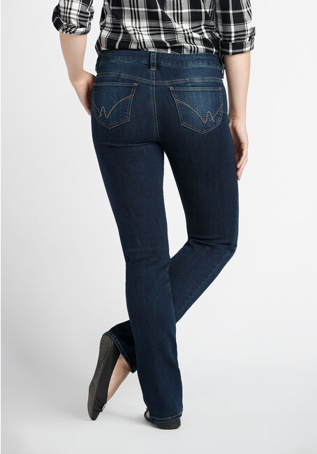Ladies' Straight Leg Jeans, MEDIUM VINTAGE WASH, hi-res