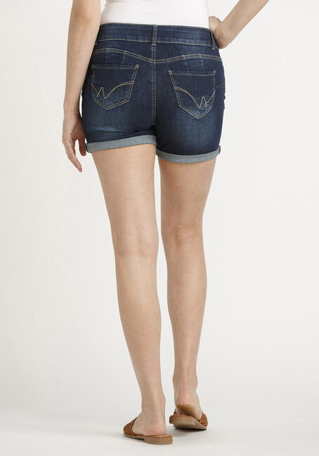 Women's 2 Button Cuffed Dark Midi Jean Short, DARK WASH, hi-res