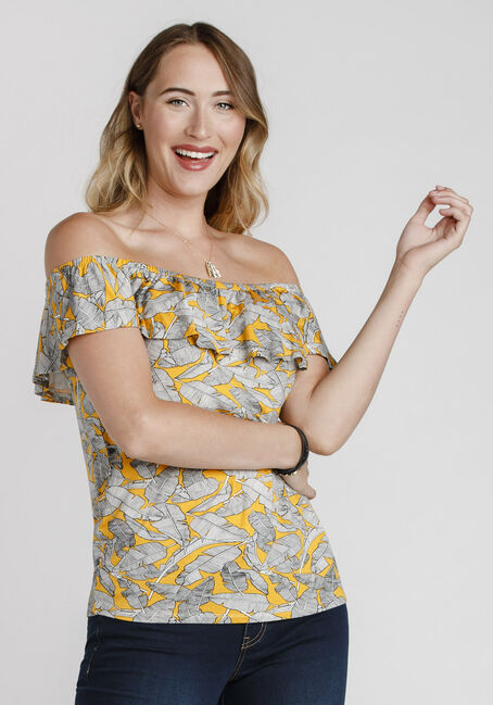 Women's Leaf Print Bardot Top, MUSTARD, hi-res