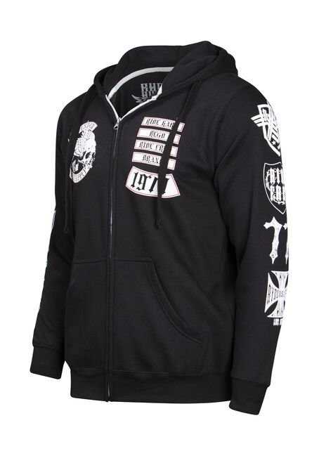 Men's Flying Skull Graphic Hoodie, BLACK, hi-res