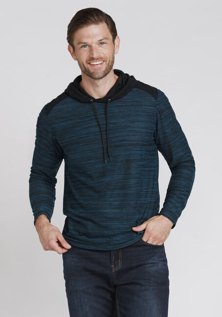 Men's Everyday Colour Block Hooded Tee, BLUEGRASS, hi-res