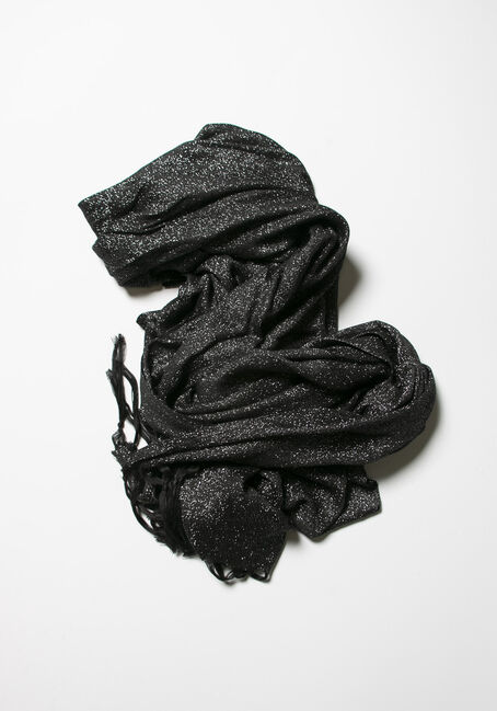 Women's Shimmer Scarf, BLACK, hi-res