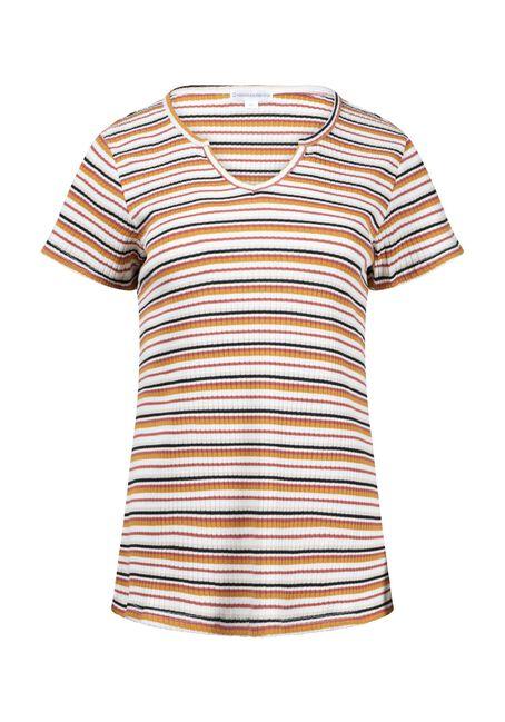 Women's Mini Stripe Ribbed Notch Neck Tee, MULTI, hi-res