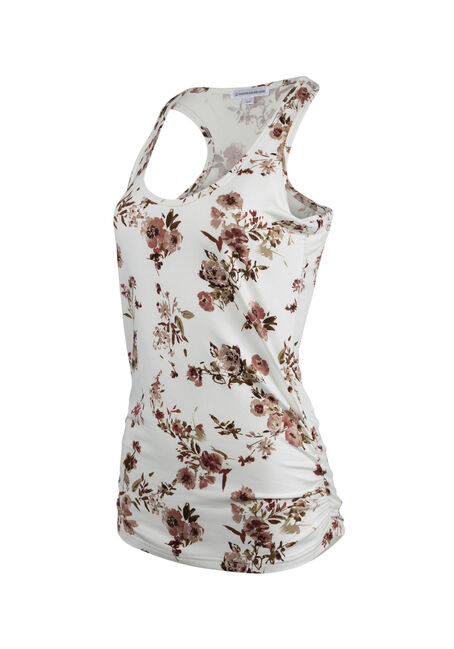 Ladies' Floral Super Soft Tank, IVORY, hi-res