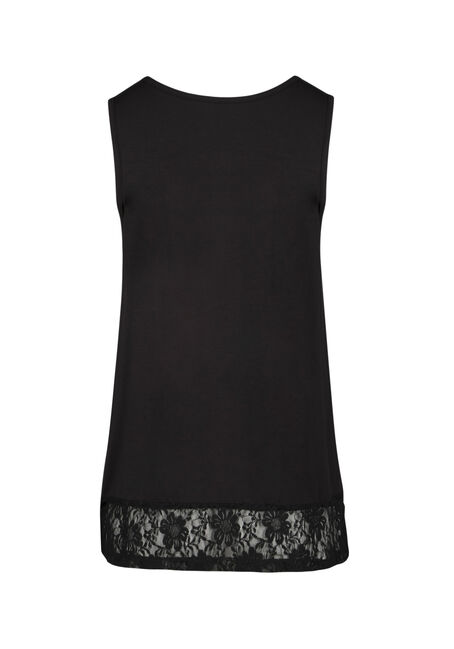 Ladies' Cage Neck Lace Hem Tank, BLACK, hi-res