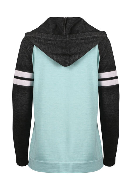 Women's Colour Block Football Hoodie, AQUAMARINE, hi-res