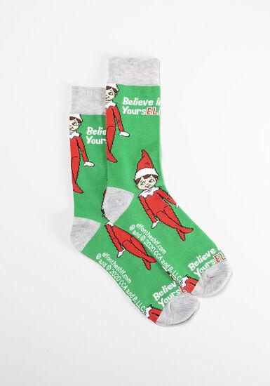 Men's Single Crew Socks, GREEN, hi-res