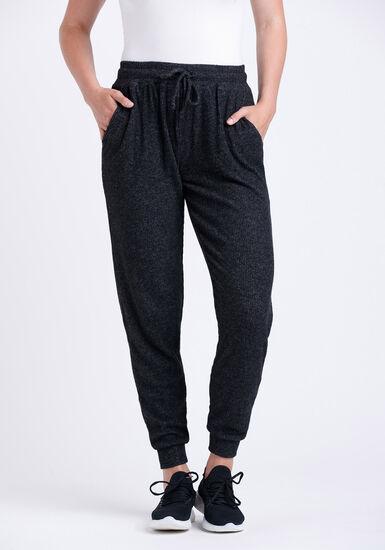Women's Rib Knit Jogger, CHARCOAL, hi-res