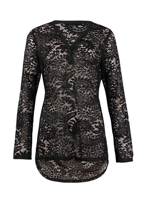 Ladies' Lace Henley Tunic, BLACK, hi-res