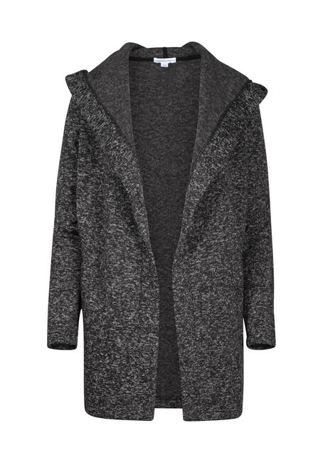 Women's Black Texture Hooded Wrap
