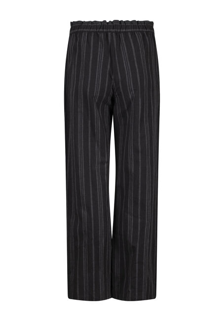 Women's Wide Leg Striped Linen Pant, BLACK, hi-res