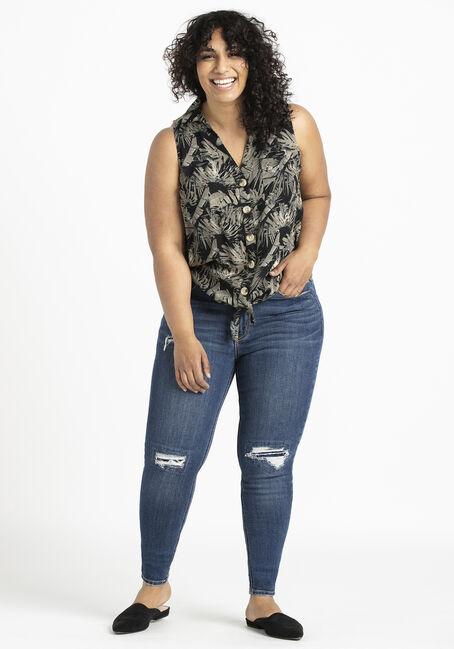 Women's Palm Print Tie Front Shirt, BLACK, hi-res