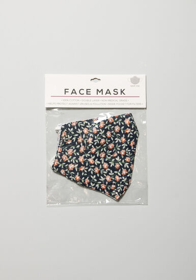 Women's Floral Face Mask, NAVY, hi-res