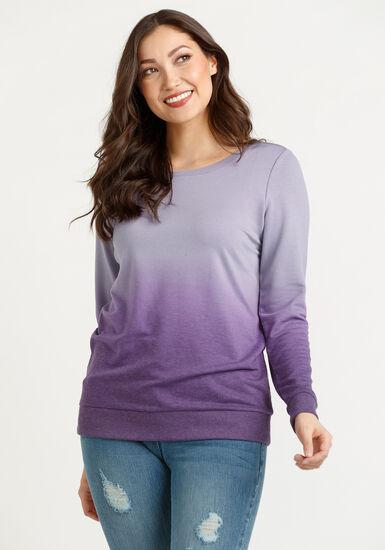 Women's Ombre Sweatshirt, PURPLE, hi-res