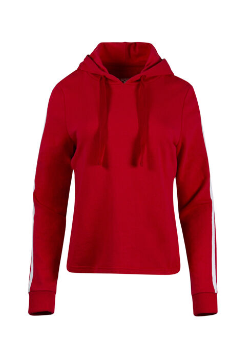 Women's Striped Sleeve Hoodie, RED SEA, hi-res