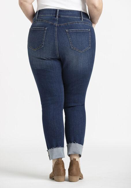 Women's Plus 2 Button High Rise Cuffed Skinny Crop, DARK WASH, hi-res