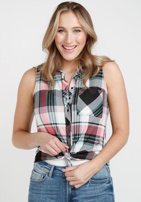 Women's Sleeveless Plaid Shirt