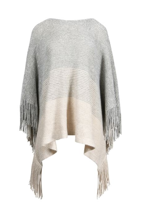 Women's Stripe Poncho, TAN, hi-res