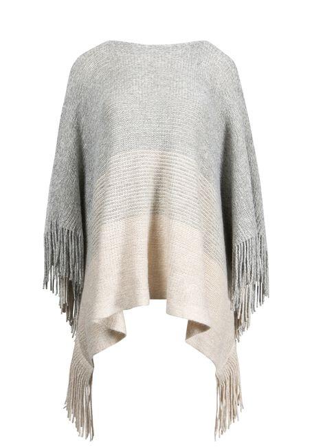 Women's Stripe Poncho, TAN, hi-res