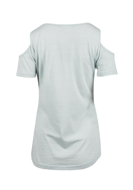 Ladies' Cold Shoulder Tee, MEADOWN GREEN, hi-res