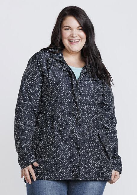 Women's Speckled Anorak Jacket, BLK/WHT, hi-res