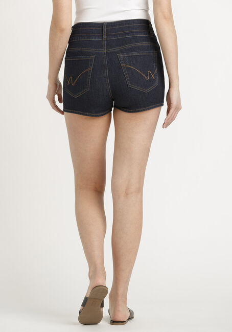 Women's 3 Button Stacked Short, DARK WASH, hi-res