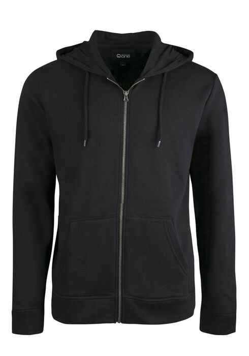 Men's Zip Front Hoodie, BLACK, hi-res
