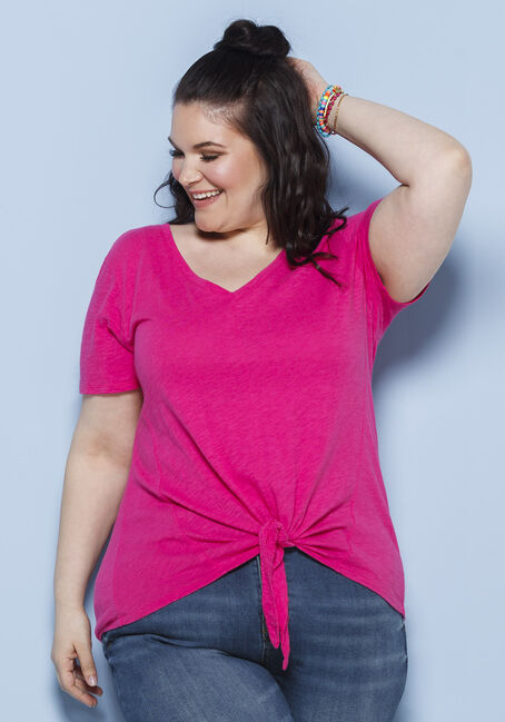 Women's Tie Front Tee, FLAMINGO, hi-res
