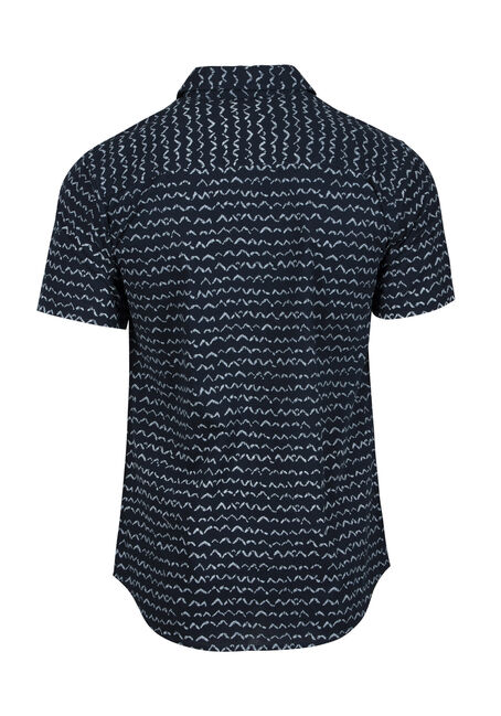 Men's Wave Print Shirt, NAVY, hi-res