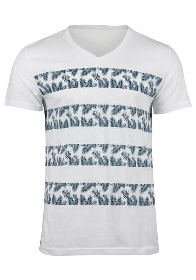 Men's Tropical Stripe V Neck Tee, TWILIGHT, hi-res