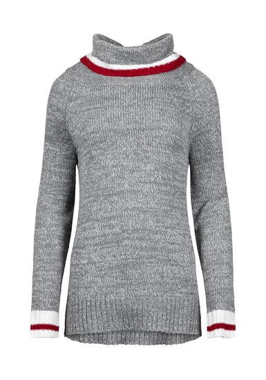 Women's Cowl Neck Cabin Sweater, HEATHER GREY, hi-res